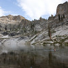 A beautiful scene for a dip in the lake.  The ridges rise about 1,500 feet above the lake, solid granite!