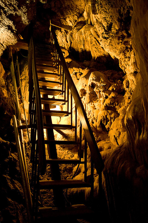 The Only Way Out?  Staircase in Moaning Caverns, CA.