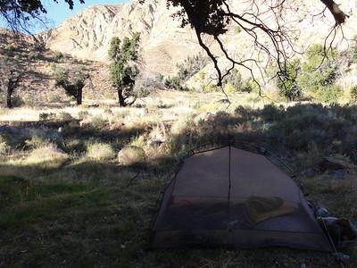A look at Erics tent towards Agua Blanca creek.