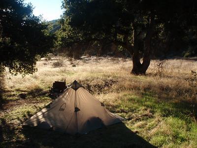 David Stillmans tent in the morning.
