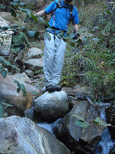 Eric does a balance act on the Agua Blanca creek.