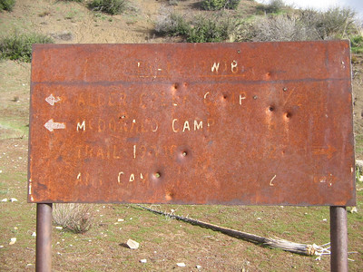 Can you read this? Probably not, the fires a few years back burned this sign to an unreadable state.