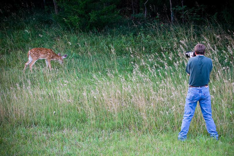 Jeff Moffett and Baby Deer<br /> Photo by Dan Scheve