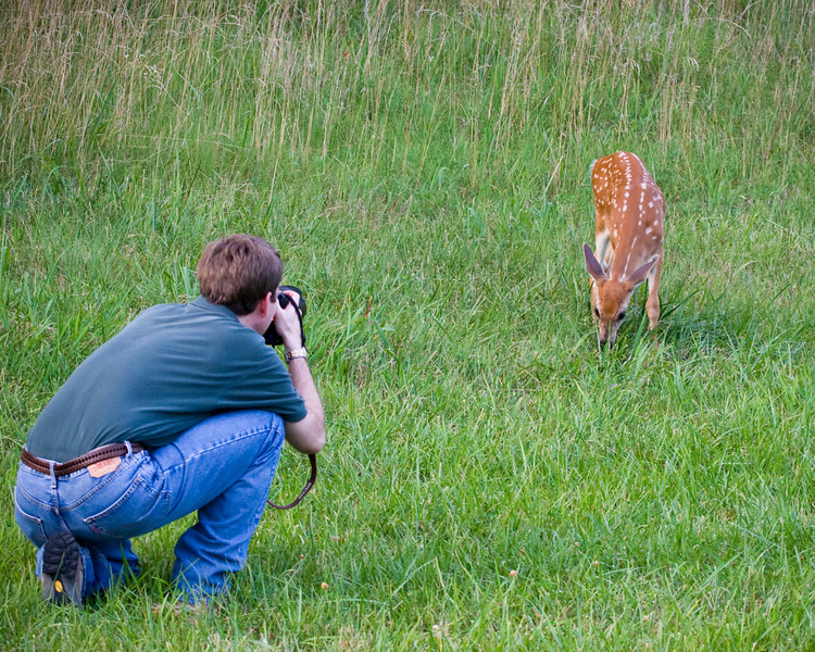 Jeff Moffett and Baby Deer<br /> Photo by Dan Scheve