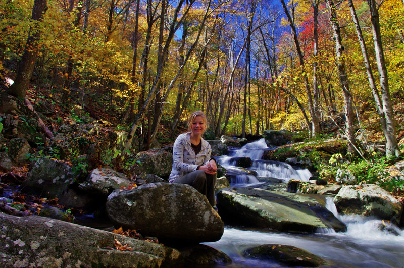 Jeanie on the on a Rose River rock. :-)<br /> 10/15/2011