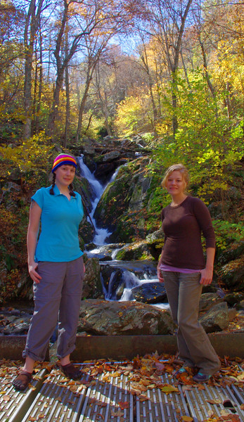 Jeanie and I at the junction of Dark Hollow Falls Trail, Rose River Trail, and the Rose River Fire Road.<br /> 10/15/2011