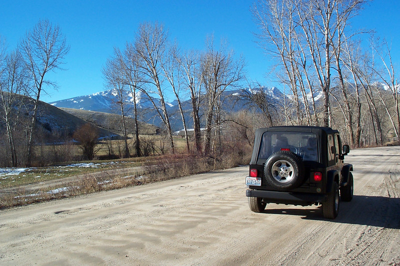 drving out rye creek toward darby (montana), trapper peak of the bitterroots in the background