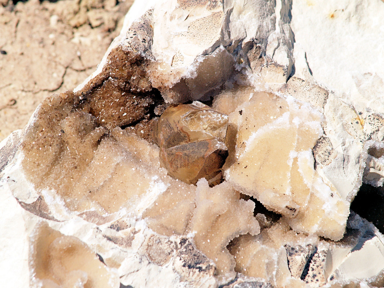 OLYMPUS DIGITAL CAMERA--Calcite twin crystals in a vug inside a concretions.  These are some of the largest crystals I have ever found at any of the uranium mines.