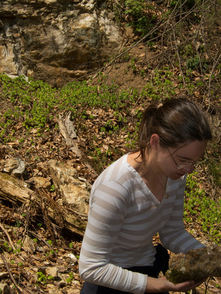 Jessica examining muscovite mica from Hobby Hill Quarry in the gorge