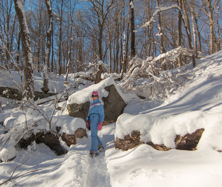 Base of falls in Westchester Wilderness Walk.  Trail untracked and uphill from here...
