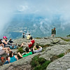 Crowded Summit of Mt Mansfield - most climbed from the Stowe side of the mountain (not our Jeffersonville route)