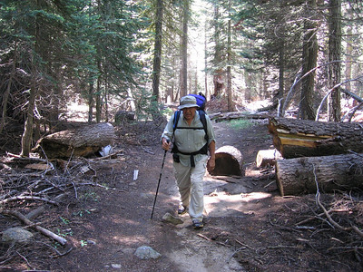 Climbing up the trail from Lodgepole heading north towards Cahoon Gap and beyond. Sam Duran pictured.