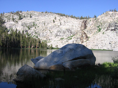 Large boulder at the margin of the lake. Some who've seen this photo fancy it looks like a surfacing whale.