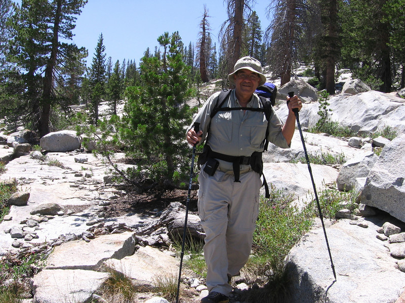 Sam in his element: cross country, off-trail! Once you overcome any initial uncertainties, hiking cross-country at these altitudes is really the most pleasant way to see the high country. At lower altitudes, trails are really nice since all the trees make navigation difficult plus you're almost always struggling through undergrowth when off-trail, i.e., bushwhacking.