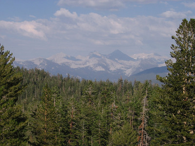 A view to the northeast and the high peaks of the Sierra crest.