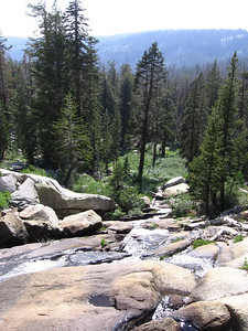 The trail steepens as it climbs alongside the East Fork of Clover Creek toward the cirque that holds Twin Lakes.