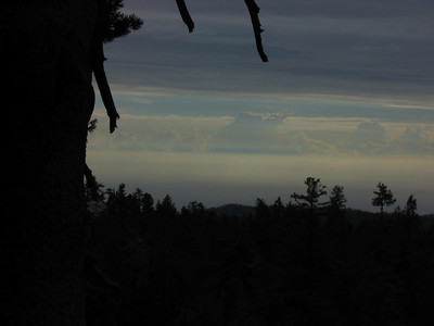 Looking out west toward the Central Valley; some thunderheads were building up.