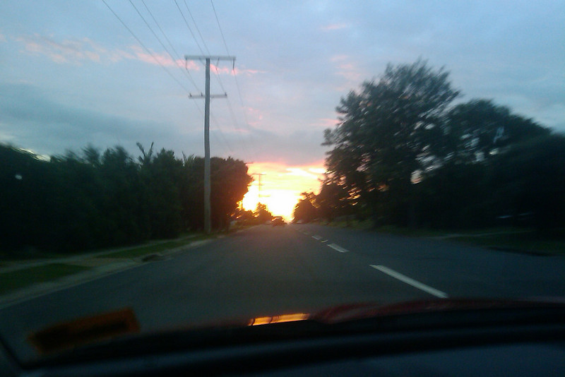 sunset on the road
