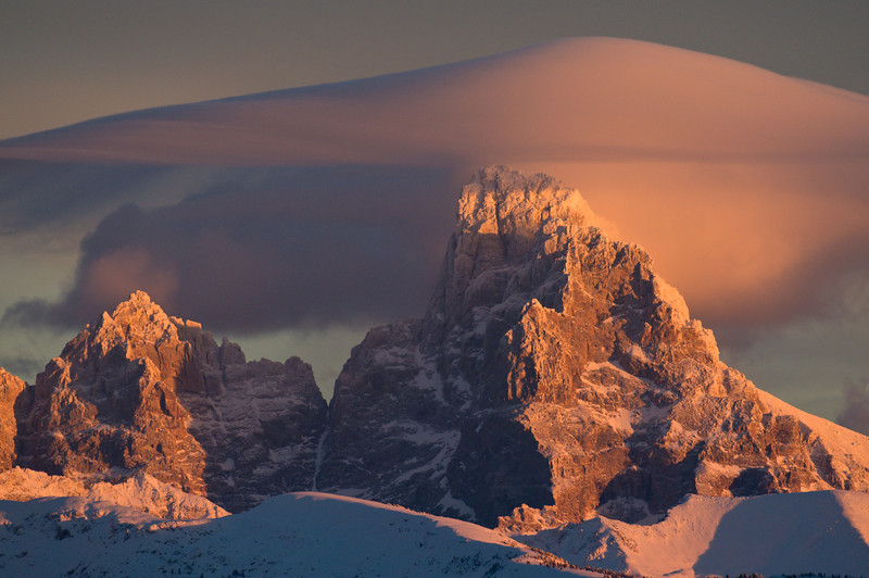 Grand Teton from the west with lenticular  cloud
