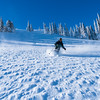 Kyle skiing wind sculptered snow  - Endorphin Bowl
