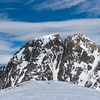 "South face of Wolf Mountain (11,800 ft). K. Erickson and H. Sarri skied the doglegged coulior in early June of 2000 calling it ""The Humerus Canine"""