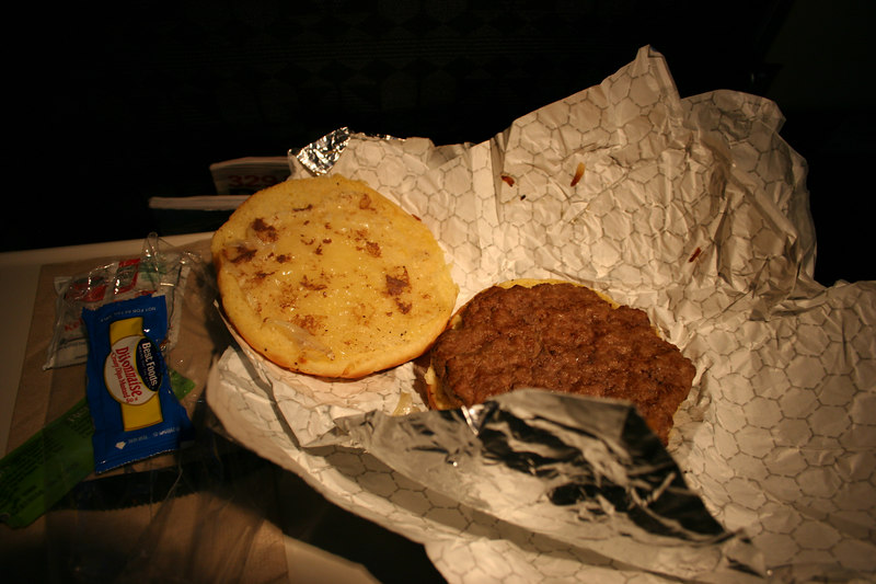 A scrumptious looking cheeseburger ($5) from Alaska Airlines.