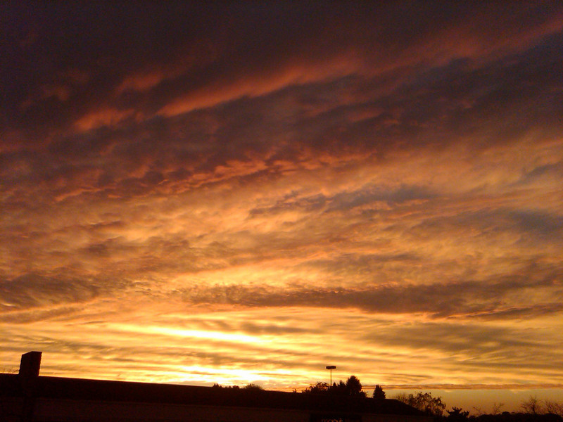 Sept 30, 2010 - Interesting Clouds and lighting conditions for sunset. Taken with a 3.2 meg autofocus Blackberry Storm Phone, at South Hills Village, near Pittsburgh, PA.