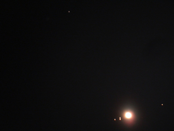 Jupiter and the asteroid Vesat late August 2007.  Image by Paul Campbell - 20 seconds - Sony Cyber shot camera. 8 inch orange Celestron.