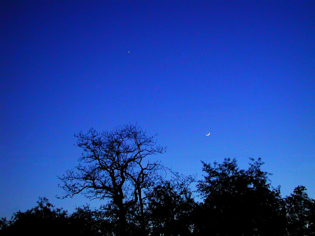 The moon & Venus imaged on 5-18-07.  image by Al Paslow - Bethel Park, PA.