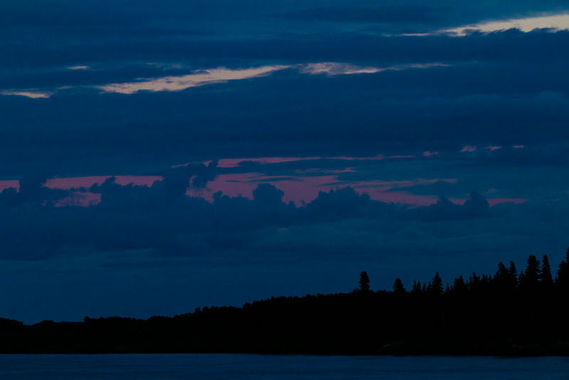Clouds over the Moose River looking to the east around sunset.