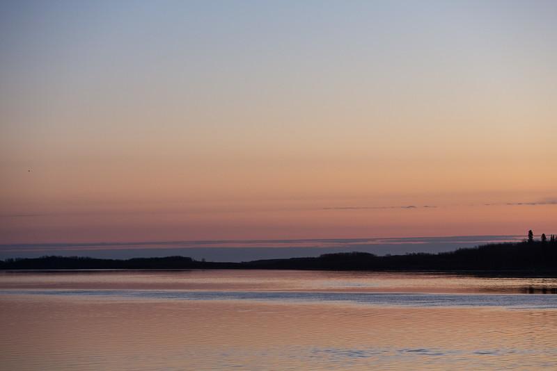 Looking down the Moose River before sunrise at Moosonee.