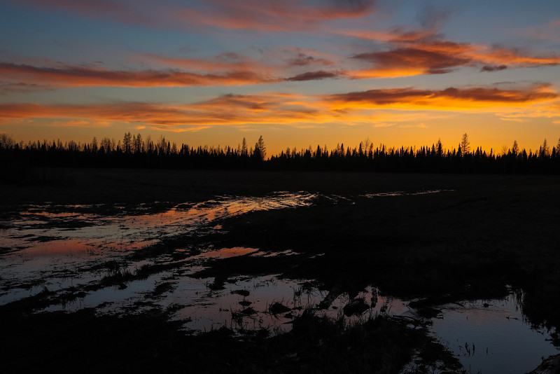 Post sunrise skies reflected boggy ground on other side of tracks in Moosonee. In camera HDR jpg.