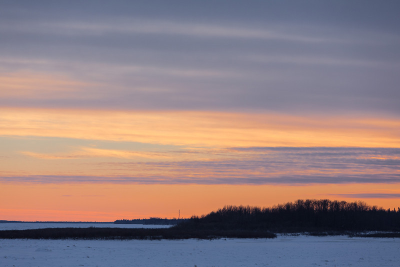 Looking up the Moose River from Moosonee before sunset.