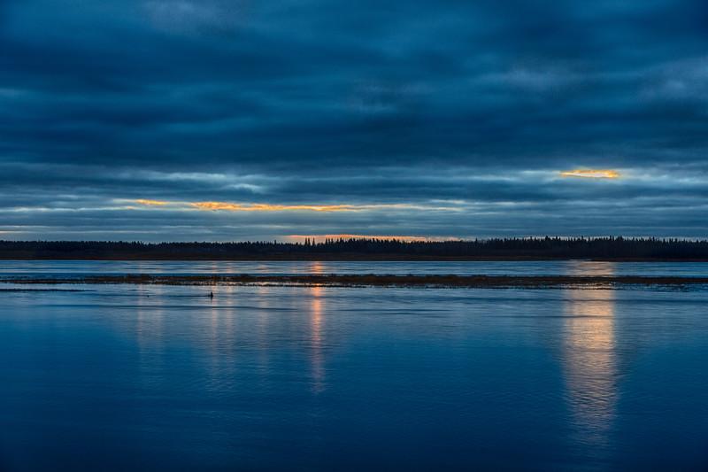 Looking across the Moose River from Moosonee befoe sunrise. HDR efx dark.