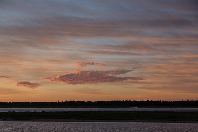 View looking across the Moose River before sunrise at Moosonee.