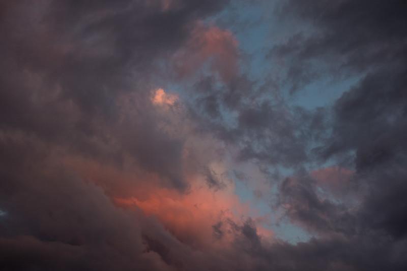 Gaps in the clouds around sunrise.