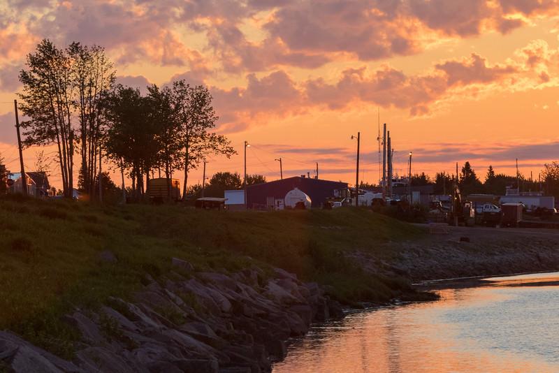 Moose River shoreline at Moosonee after sunrise.