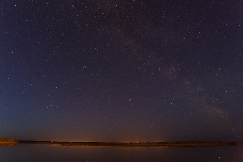 Night time looking across the Moose River. Stars show up as very short lines in 30 second exposure.
