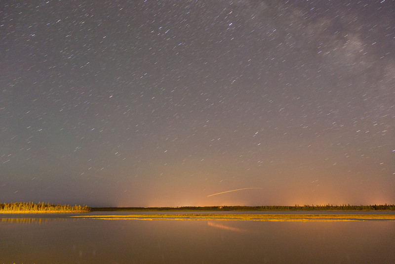 Looking across the Moose River at night. 133 second exposure. Likely aircraft.