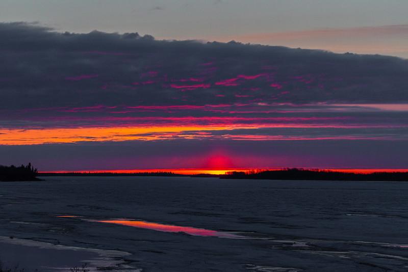 Looking down the Moose River at Moosonee just before sunrise.