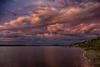 Moose River shoreline at Moosonee looking down river after sunrise. Pseudo HDR dark.