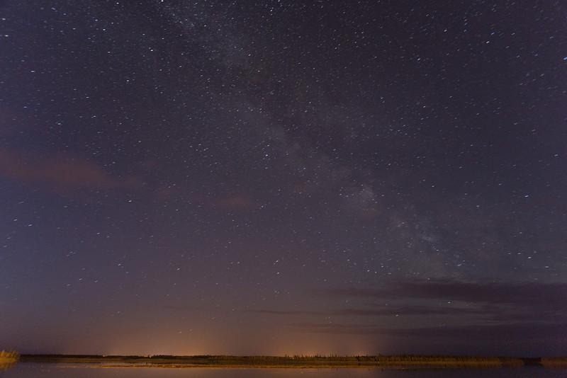 Night sky over Moose Factory from Moosonee. Brighter.