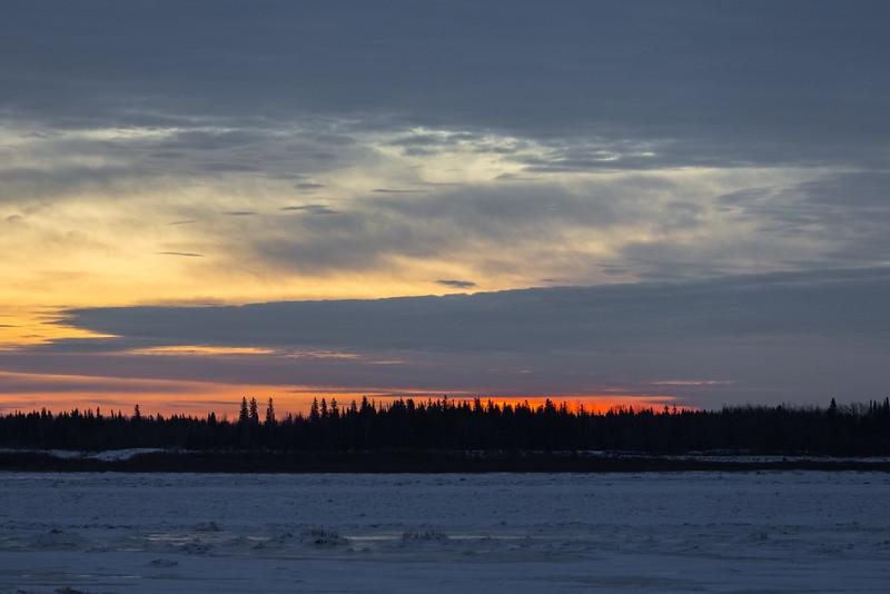 Sky before ssunrise across the Moose River from Moosonee.