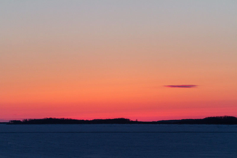 Sky before sunrise, looking down the Moose River from Moosonee.