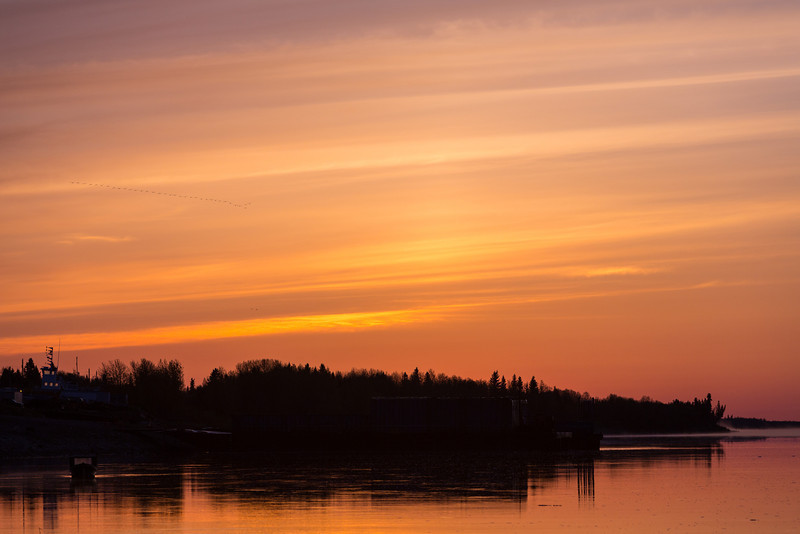 Just before sunrise, looking down the Moose River at Moosonee.