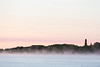 Fog on the Moose River at sunrise.