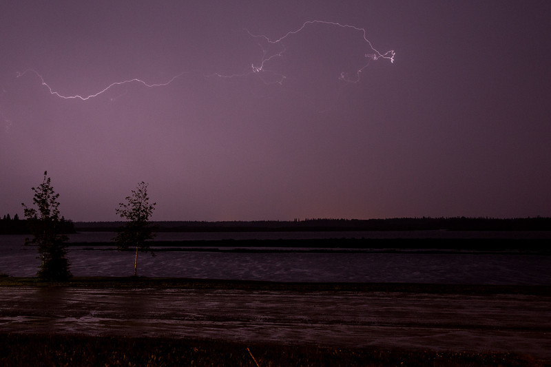 Lighting across the Moose River from Moosonee.
