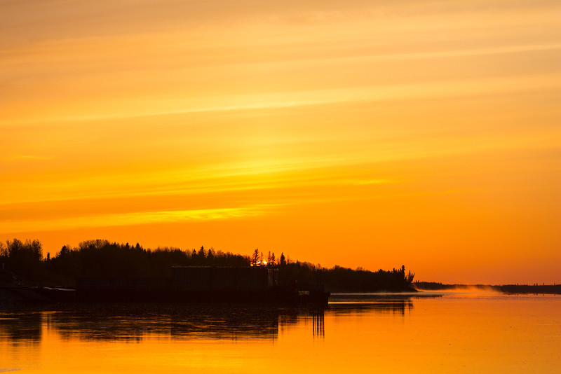 The sun rises above the trees looking down the Moose River.