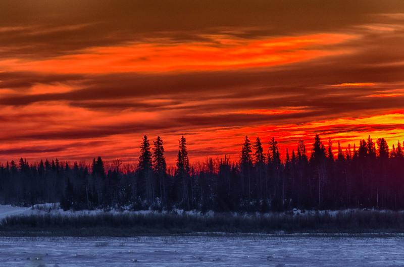 Sky just before sunrise across the Moose River from Moosonee. HDR Efx Dark.
