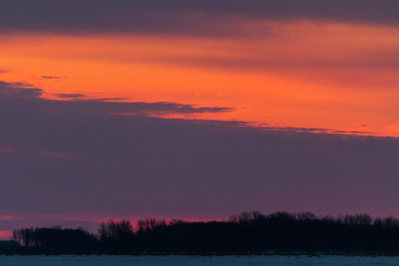 Sky before sunrise looking down the Moose River from Moosonee 2014 April 26th.